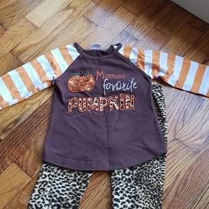 Fall leggings outfit cheeta pumpkin